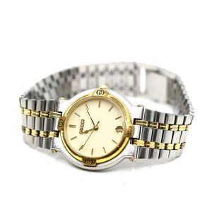 Gucci Two Tone White Face Vintage Watch